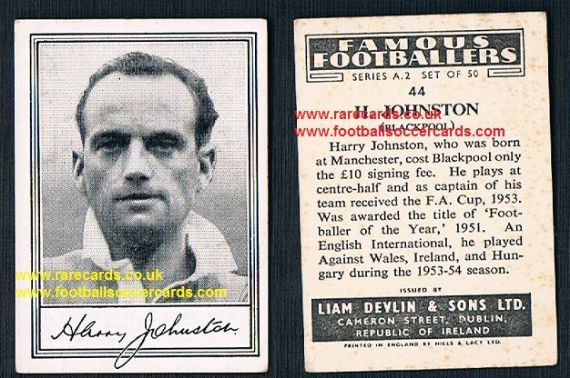 1952 Liam Devlin Ireland Series A2 #44 Harry Johnstone Blackpool